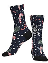 cheap -Socks Cycling Socks Men's Women's Bike / Cycling Breathable Soft Comfortable 1 Pair Graphic Santa Claus Cotton Black S M L / Stretchy