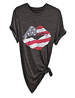 cheap -women's american flag lips print short sleeve graphic funny t-shirt 4th of july tunic tops(gy8100,2xl)
