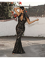 cheap -Mermaid / Trumpet Beautiful Back Sexy Party Wear Formal Evening Dress Halter Neck Sleeveless Floor Length Spandex with Sequin 2020