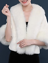 cheap -Long Sleeve Shawls Faux Fur Wedding Women's Wrap With Solid