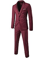 cheap -men's 2 button single breasted slim fit 3-piece suit party blazer business vest casual pants wine red 4xl