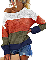 cheap -Women's Knitted Color Block Sweater Long Sleeve Sweater Cardigans Crew Neck Fall Winter Blue Yellow Blushing Pink