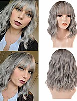 cheap -short bob wig with bangs cosplay synthetic wigs for women colorful wavy wig with bangs full head hair replacement wig for daily wear heat resistant fiber costume shoulder length wig (14'',ombre gray)