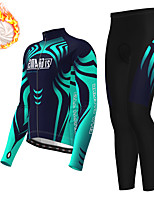 cheap -21Grams Men's Long Sleeve Cycling Jersey with Tights Winter Fleece Polyester Dark Blue Bike Clothing Suit Thermal Warm Fleece Lining Breathable 3D Pad Warm Sports Graphic Mountain Bike MTB Road Bike