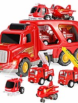 cheap -toy excavator fire truck transporter with sound and light, thick material, educational toys for boys and girls aged 3-6, friction power toys