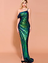cheap -Mermaid / Trumpet Sexy bodycon Prom Formal Evening Dress One Shoulder Sleeveless Sweep / Brush Train Sequined with Sequin Split 2020