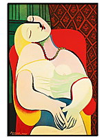 cheap -100% Hand Painted Modern Abstract Face Picasso Oil Painting Wall Art Pictures on Rolled Canvas Fashion Style Living Room Canvas Painting No Frame For Home Decoration