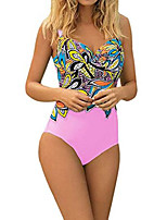 cheap -women monokini retro print one piece swimsuit push up high cut swimsuits bathing suits by nevera pink