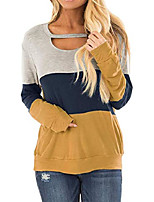 cheap -women's comfy shirts tops long sleeve casual color block chest cutout loose blouses a-yellow xs