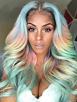 cheap -Wigs Female Color Chemical Fiber Hair Cosplay Rainbow Wig Bleaching And Dyeing Mixed Colors In The Middle Of Large Wavy Long Curly Hair Holiday Party Wig