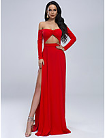 cheap -Sheath / Column Cut Out Sexy Prom Formal Evening Dress Off Shoulder Long Sleeve Sweep / Brush Train Spandex with Split 2020
