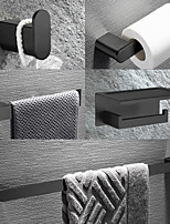cheap -SUS304 Bathroom Accessory Set Include Robe Hook, Towel Bar, Towel Holder, Toilet Paper Holder with Shelf for Phone and Wash Supplies, Matte Black Stainless Steel - Bathroom for Home and Hotel
