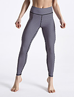 cheap -Women's Sporty Comfort Gym Yoga Leggings Pants Plaid Checkered Patterned Ankle-Length Print Dark Gray