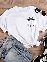 cheap -Women's T-shirt Cat Graphic Prints Print Round Neck Tops 100% Cotton Basic Basic Top White Purple Red