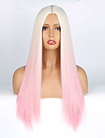 cheap -long straight blonde wigs ombre light pink glueless synthetic wig for women girls,heat resistant replacement hair cosplay daily wear ombre color (r-pink)
