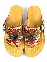 cheap -Women's Slippers & Flip-Flops Flip-Flops Outdoor Slippers Beach Slippers Flat Heel Round Toe Vintage Daily Walking Shoes Cowhide Buckle Floral Summer Almond