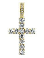 cheap -rhinestone round cut cross pendant 18k gold plated cz diy jewelry