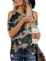 cheap -women cold shoulder leopard zebra print tops summer casual twist shirts (camouflage, s)