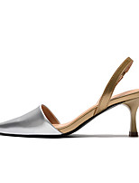 cheap -Women's Sandals Stiletto Heel Pointed Toe Classic Daily Faux Leather Solid Colored Silver
