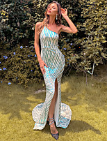 cheap -Mermaid / Trumpet Color Block Sexy Prom Formal Evening Dress One Shoulder Sleeveless Court Train Spandex with Split 2020