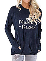 cheap -women long sleeve mama bear shirt graphic tops mom tshirts loose pullover (navy, s)