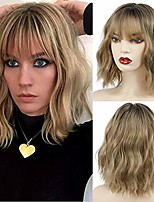 cheap -short curly bob wig with bangs wavy synthetic cosplay bob wig loose wave for women costume wigs ombre black to brown mixed color
