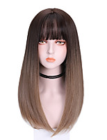 cheap -Synthetic Wig Straight With Bangs Wig Medium Length Brown Purple Synthetic Hair 16 inch Women's Cool Color Gradient Comfy Brown Purple