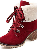 cheap -so simpok womens lace up block heel ankle boots warm suede chunky heel booties wine red