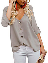 cheap -women's v neck button down tops cuffed sleeve casual blouse shirts (apricot x-large)