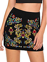 cheap -women's casual floral embroidered bodycon short mini skirt black l