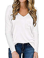 cheap -women's v neck white t shirt with chest pocket long sleeve fall winter xl