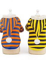 cheap -Dog Cat Coat Hoodie Stripes Classic Casual / Daily Winter Dog Clothes Puppy Clothes Dog Outfits Breathable Yellow Orange Costume for Girl and Boy Dog Cotton S M L XL XXL