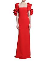 cheap -Sheath / Column Elegant Minimalist Wedding Guest Formal Evening Dress Scoop Neck Short Sleeve Floor Length Satin with Sleek 2020