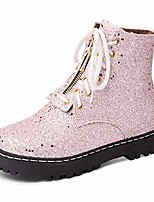 cheap -women glitter martin boots lace up bling zipper anti-skid comfy sequin platform round toe ankle boots pink