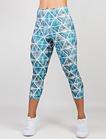 cheap -Women's Sporty Comfort Gym Yoga Leggings Pants Plaid Checkered Patterned Calf-Length Print Blue