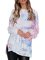 cheap -Women's Tee / T-shirt Oversized Tie Dye Crew Neck Color Block Sport Athleisure T Shirt Top Long Sleeve Breathable Comfortable Everyday Use Daily Casual Outdoor
