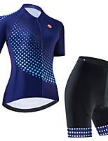 cheap -Women's Short Sleeve Cycling Jersey Cycling Jersey with Bib Shorts Cycling Jersey with Shorts Black Black / White Dark Blue Polka Dot Bike Breathable Quick Dry Sports Polka Dot Mountain Bike MTB Road