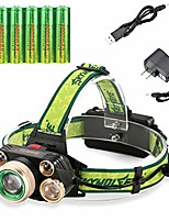 cheap -5 cree 18650 headlamp rechargeable adjustable waterproof led zoomable brightest ultra bright headlamp with 6pc 18650 batteries and usb charger for camping running hiking outdoors