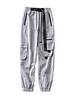 cheap -Women's Basic Streetwear Comfort Daily Going out Pants Tactical Cargo Pants Solid Colored Full Length Pocket Drawstring Black Gray