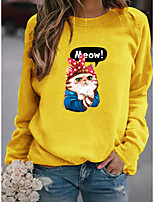 cheap -Women's Pullover Sweatshirt Cat Graphic Daily Basic Casual Hoodies Sweatshirts  Yellow