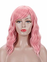cheap -pastel wavy wig with air bangs women's short bob pink wig curly wavy shoulder length bob soft synthetic cosplay wig for charming girl colorful costume wigs (14 inch, pink)