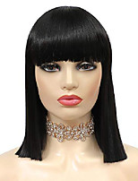 cheap -short bob wigs with hair bangs straight hair wig natural looking synthetic full hair wig for women shoulder length black color