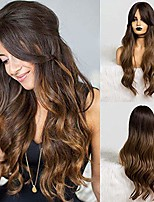 cheap -synthetic dark brown long natural wave hair wigs with side bangs heat resistant fiber wigs for white black women