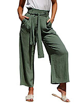 cheap -women's loose high waist wide leg linen pants palazzo cropped pants with pockets army green 8