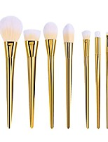 cheap -7pcs professional makeup brushes powder applicator kit for foundation blush contour eyeshadow makeup (gold)