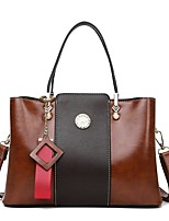 cheap -Women's Bags PU Leather Satchel Top Handle Bag Zipper Handbags Daily Black Blue Red Brown