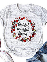 cheap -women's grateful thankful blessed letter print t-shirt floral print graphic tee shirt light gray