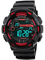 cheap -men sports watches 50m waterproof back light led digital watch chronograph shock double time countdown (red)