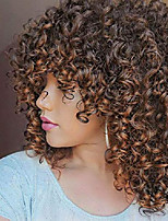 cheap -lizzy short curly afro wigs for black women full synthetic natural ombre brown afro kinkys curly wig with bangs shoulder length heat resistant curly wigs for daily use (ombre brown)