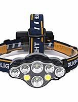 cheap -8led headlights usb charging t6 aluminum alloy strong light headlights outdoor waterproof work light searchlight